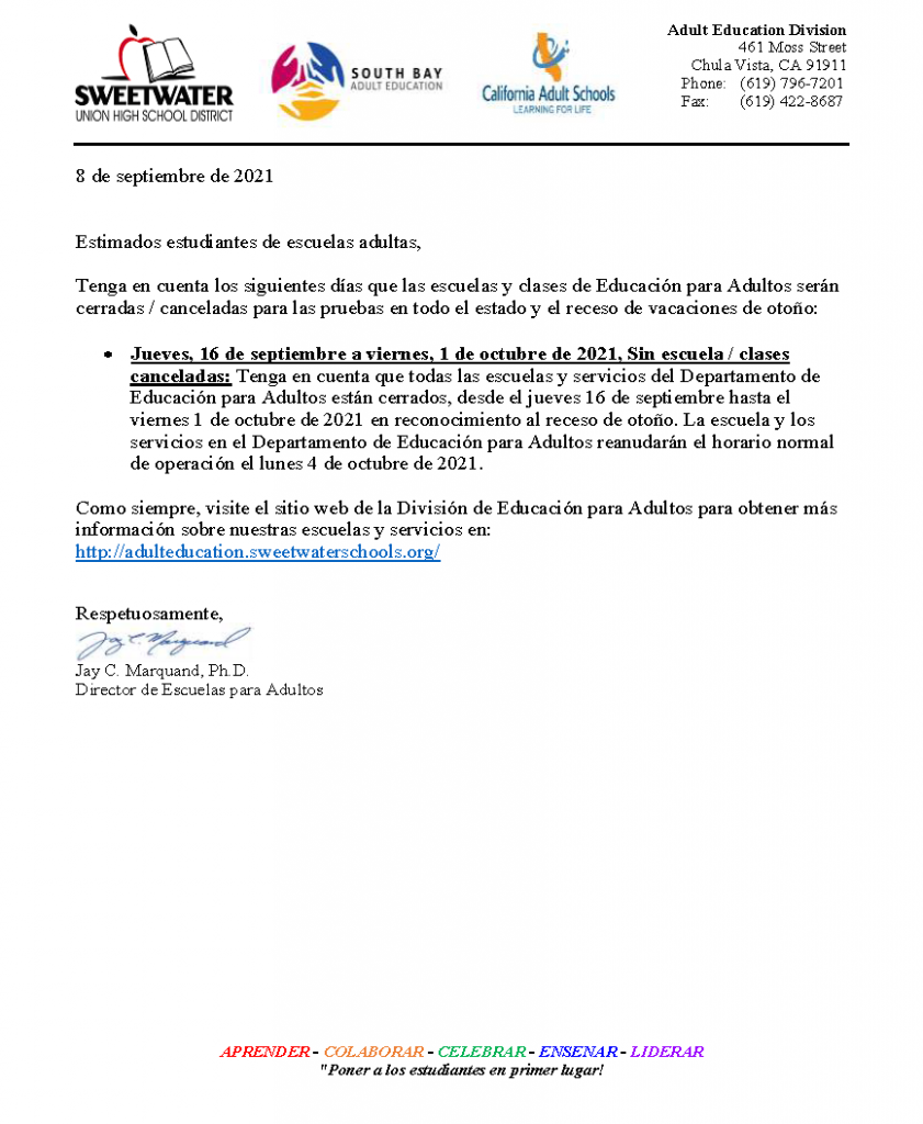Fall Break 2021 letter to students in Spanish