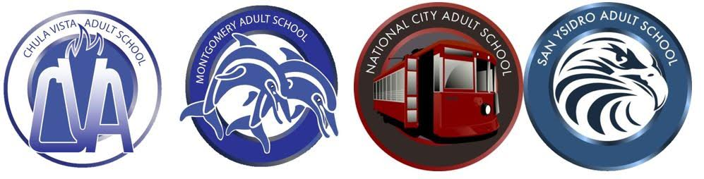 Logos of all 4 adult schools: Chula Vista Adult, Montgomery Adult, National City Adult, and San Ysidro Adult