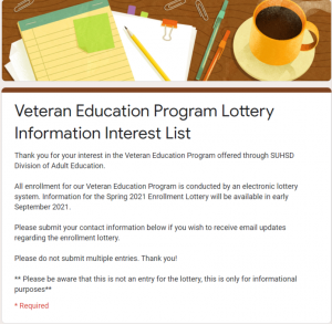 Picture of the veteran education interest list form